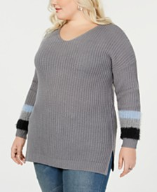 c0cfc2867ad1b Planet Gold Trendy Plus Size Stripe-Detail Sweater