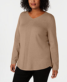 Karen Scott Plus Size Cotton Cable-Detail Sweater