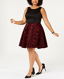 City Studios Trendy Plus Size Flocked A-Line Dress