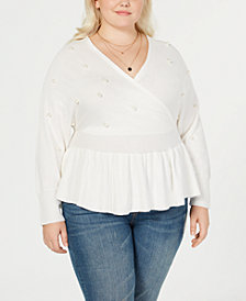 Say What? Trendy Plus Size Faux-Wrap Peplum Sweater