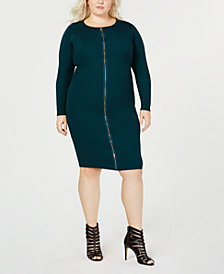 Say What? Trendy Plus Size Zipper-Front Dress