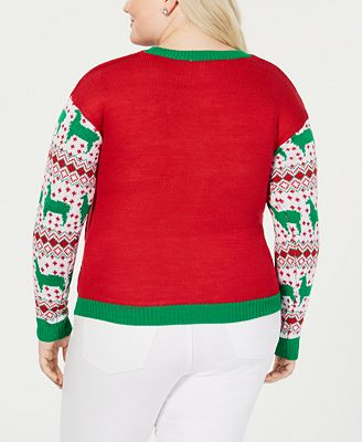Planet Gold Trendy Plus Size Happy Llamadays Christmas Sweater Pants Plus Sizes Macys