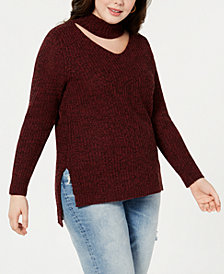Planet Gold Trendy Plus Size Cutout Sweater