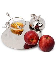 Nickel Apple Honey Pot and Tray