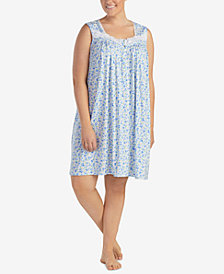 Eileen West Plus Size Lace-Trimmed Printed Knit Nightgown