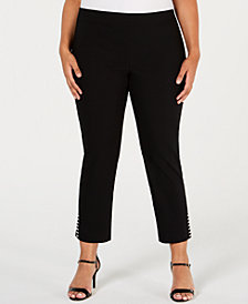 JM Collection Plus Size Pull-On Stud-Accented Ankle Pants, Created for Macy's