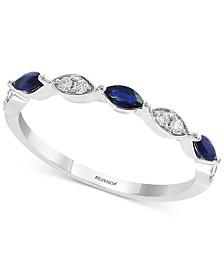 Gemstone Bridal by EFFY® Sapphire (1/3 ct. t.w.) & Diamond (1/8 ct. t.w.) in 18k White Gold