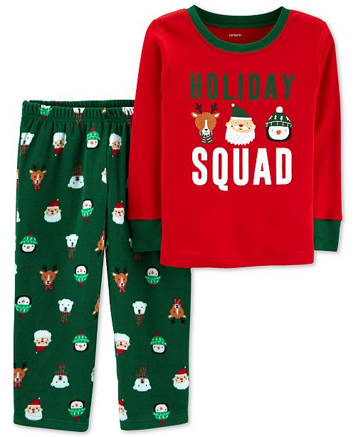 0a3175a0b Carter's Toddler Boys 2-Pc. Holiday Squad Santa Fleece Pajama Set ...