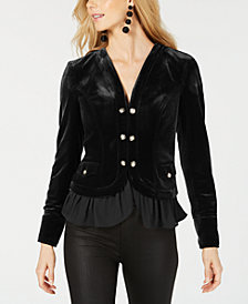 I.N.C. Velvet Military Jacket, Created for Macy's
