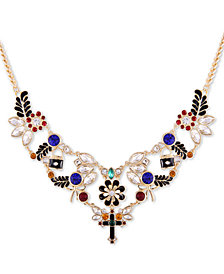 "GUESS Gold-Tone Multicolor Crystal Cross Statement Necklace, 16"" + 2"" extender"