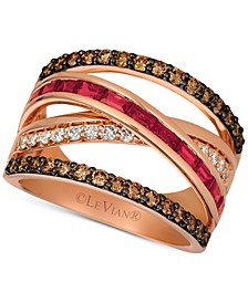 Certified Ruby (3/4 ct. t.w.) and Diamond (7/8 ct. t.w.) Ring in 14K Rose Gold