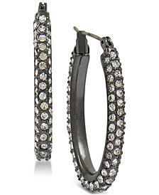 Lucky Brand Black-Tone Pavé Hoop Earrings