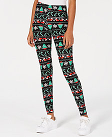 Planet Gold Juniors' Printed Holiday Leggings