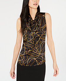 Bar III Printed Tie-Neck Top, Created for Macy's