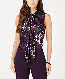 Nine West Printed Sleeveless Bow Blouse