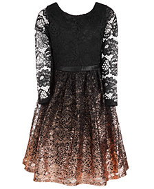 Us Angels Big Girls Lace Ombré Fit & Flare Dress