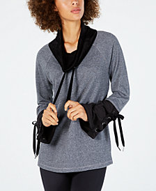 Calvin Klein Performance Cowl-Neck Tie-Sleeve Top