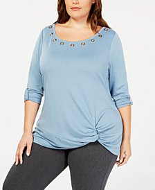 Belldini Plus Size Grommet-Trim Knot Top