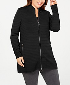Black Label Plus Size Zip-Front Ribbed-Knit Cardigan