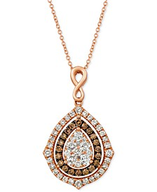 "Nude Diamonds® & Chocolate Diamonds® Fancy 18"" Pendant Necklace (1-5/8 ct. t.w.) in 14k Rose, Yellow or White Gold"