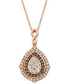"""Le Vian® Nude Diamonds® & Chocolate Diamonds® Fancy 18"""" Pendant Necklace (1-5/8 ct. t.w.) in 14k Rose Gold"""