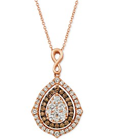 "Le Vian® Nude Diamonds® & Chocolate Diamonds® Fancy 18"" Pendant Necklace (1-5/8 ct. t.w.) in 14k Rose Gold"