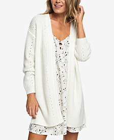 Roxy Juniors' Mixed-Knit Cardigan Sweater