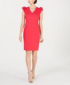 Calvin Klein Puffed-Sleeve Sheath Dress