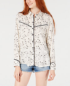 Roxy Juniors' Shambhala Estate Printed Button-Front Top