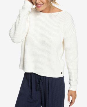 ROXY Juniors' Bamboo Bridge Twist-Back Sweater in Marshmallow