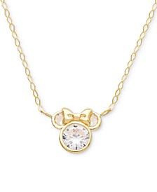 "Children's Cubic Zirconia Minnie Mouse 15"" Pendant Necklace in 14k Gold"