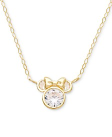 "Disney© Children's Cubic Zirconia Minnie Mouse 15"" Pendant Necklace in 14k Gold"