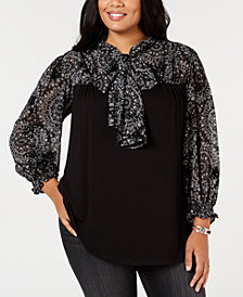 John Paul Richard Plus Size Printed Tie-Neck Top