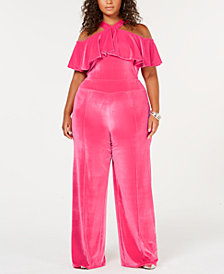 Rebdolls Plus Size Ruffled Widel-Leg Velvet Jumpsuit from The Workshop at Macy's