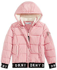 DKNY Big Girls Bomber Jacket With Removable Hood