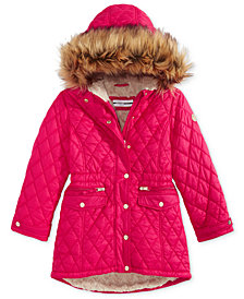 DKNY Big Girls Hooded Quilted Jacket With Removable Faux-Fur Trim