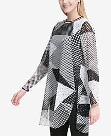Calvin Klein Geo-Print Chiffon Tunic