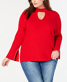 I.N.C. Plus Size Keyhole Rhinestone-Trim Top, Created for Macy's