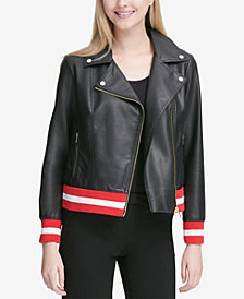 Calvin Klein Contrast Trim Faux-Leather Moto Jacket