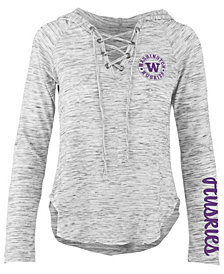 Pressbox Women's Washington Huskies Spacedye Lace Up Long Sleeve T-Shirt