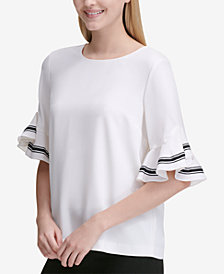Calvin Klein Ruffled-Sleeve Top, Created for Macy's