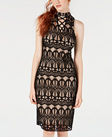 Material Girl Juniors' Crisscross Lace Midi Dress, Created for Macy's