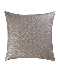 "Vince Camuto Lille Metallic Faux Leather and Linen 14"" Square Pillow"