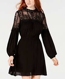 American Rag Juniors' Illusion-Lace Peasant Dress, Created for Macy's