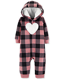 Carter's Baby Girls Hooded Plaid Heart Coverall