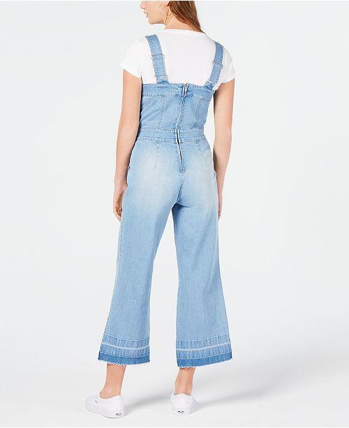 548cb5d04b38 Dollhouse Juniors  Cropped Wide-Leg Denim Overalls   Reviews - Jeans ...