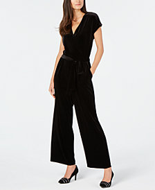 Alfani Velvet Wide-Leg Jumpsuit, Created for Macy's