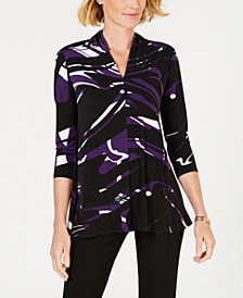 Alfani Petite Printed High-Neck Top, Created for Macy's