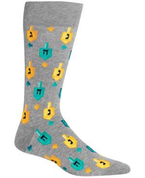 HOT SOX Men'S Printed Crew Socks in Sweatshirt Grey Heather
