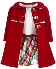 Blueberi Boulevard Baby Girls 2-Pc. Coat & Plaid Dress Set